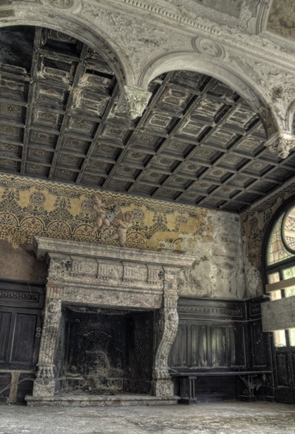 Antique Fireplace Prior to Reclamation in an Old Italian Mansion
