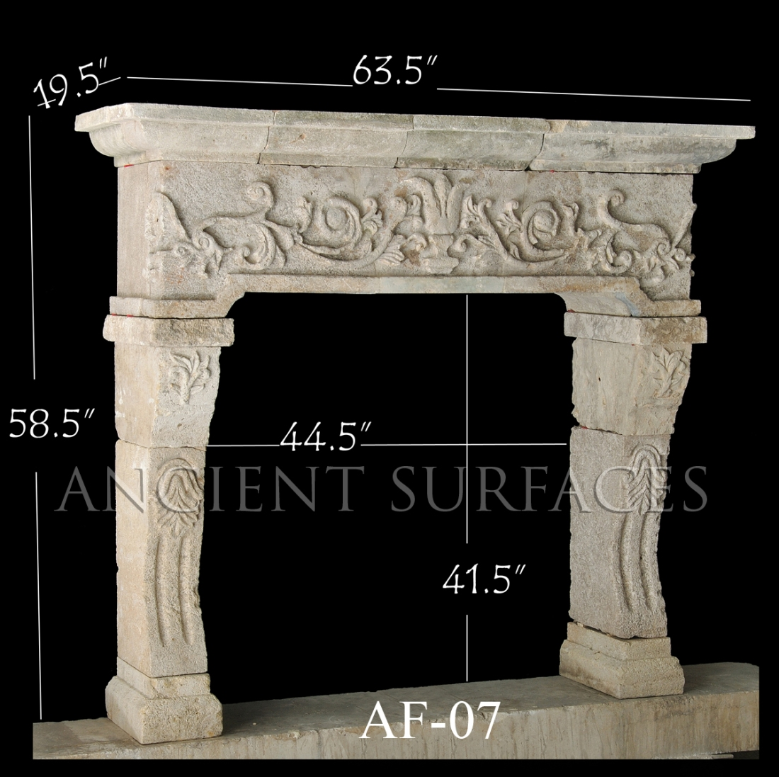 Antique Reclaimed Fireplace with Vegetation and Leafage Carvings