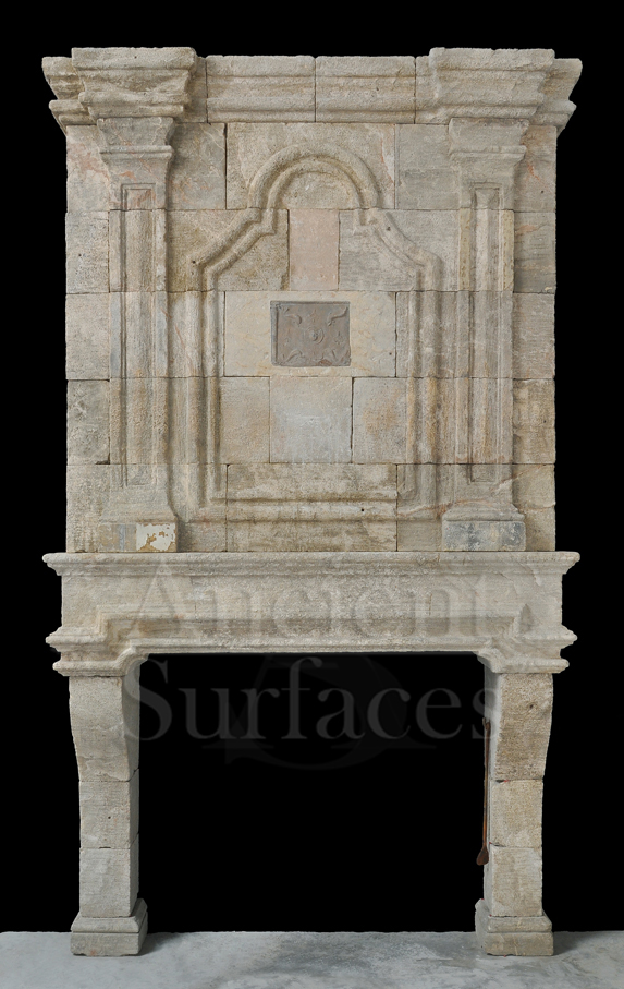 Antique Reclaimed 18th Century French Fireplace with Trumeau