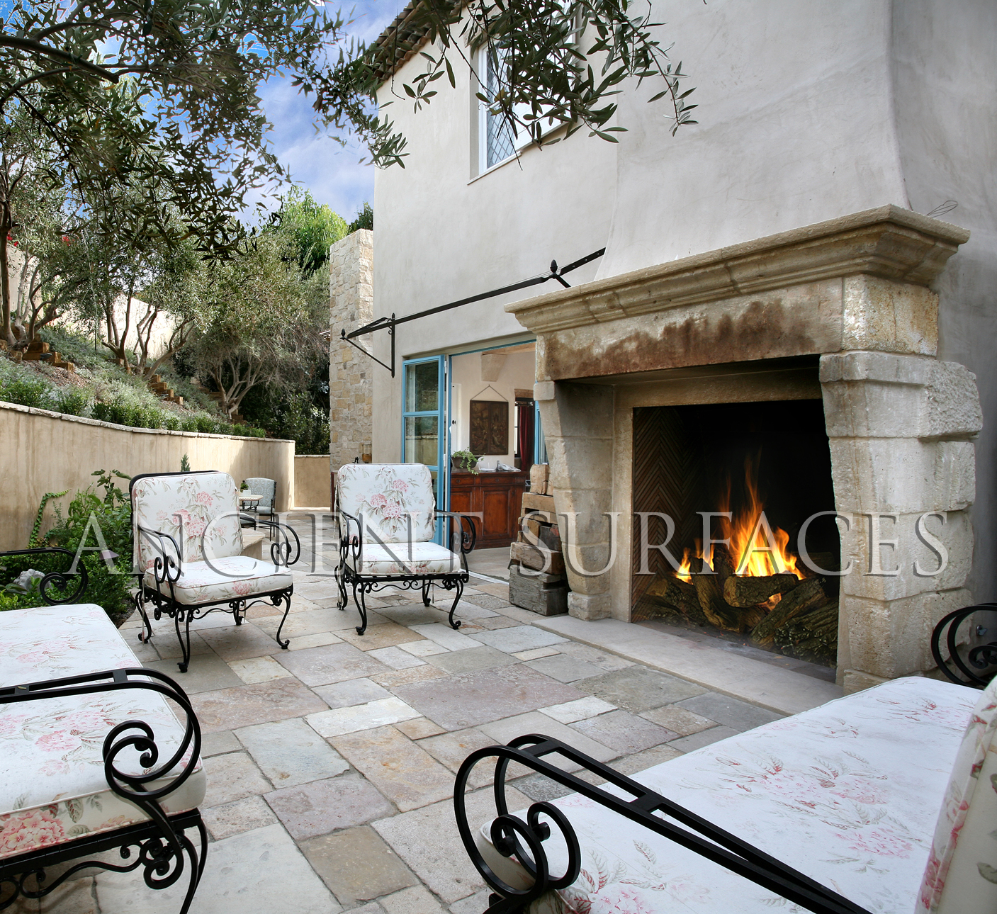 French style backyard home design inside for French country stone fireplace