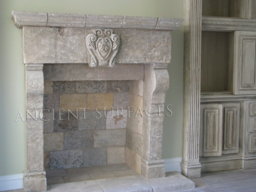 Reclaimed Italian Renaissance fireplace mantel during installation