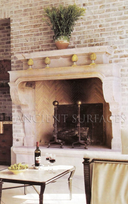 Reclaimed Limestone Fireplace Mantle Salvaged from Belgium