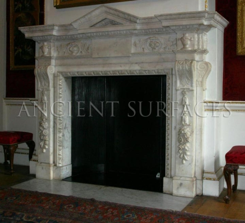Antique reclaimed marble mantle English Victorian in style