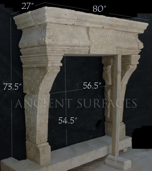 An Anglo-French mixed style antique stone fireplace mantle