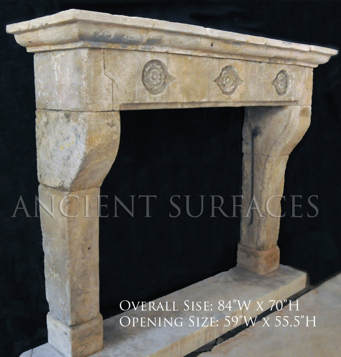 Antique reclaimed English fireplace mantel with Gothic Tudor Rosettes carved on its front