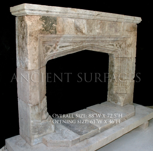 Antique reclaimed English Tudor mantel