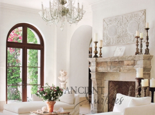 Antique Stone Fireplace by Ancient Surfaces As featured in Luxe Magazine 2012, Florida.
