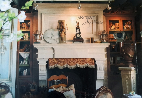 Hand carved limestone fireplace mantle. The 19th Century Italian Librarian style.
