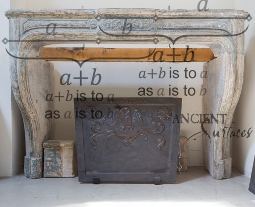 An Antique Fireplace Mantle Hand Carved in the 16th century Using the Golden Ratio Harmonic Equation.