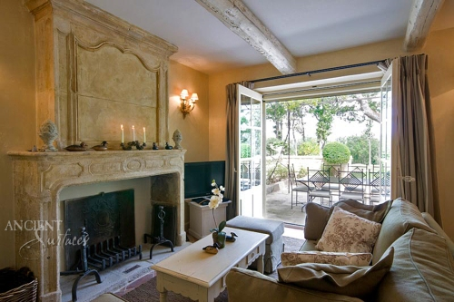 A reclaimed French Fireplace Mantle from the South of France. Reclaimed and sold by Ancient Surfaces.