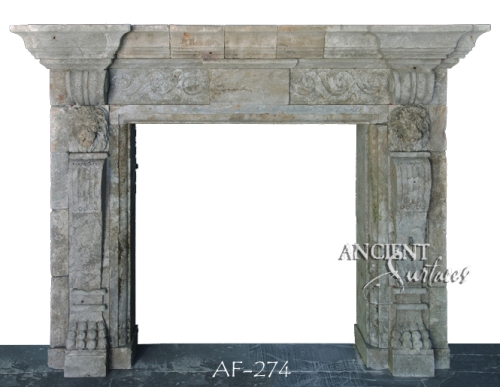 Antique stone fireplace by Ancient Surfaces. Ideas and examples from our upcoming online catalog.   http://www.ancientsurfaces.com/Antique-Fireplaces.html