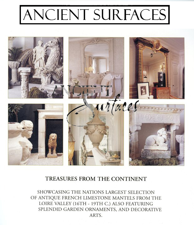Vignettes of our architectural antique stone elements in our showrooms and yards.