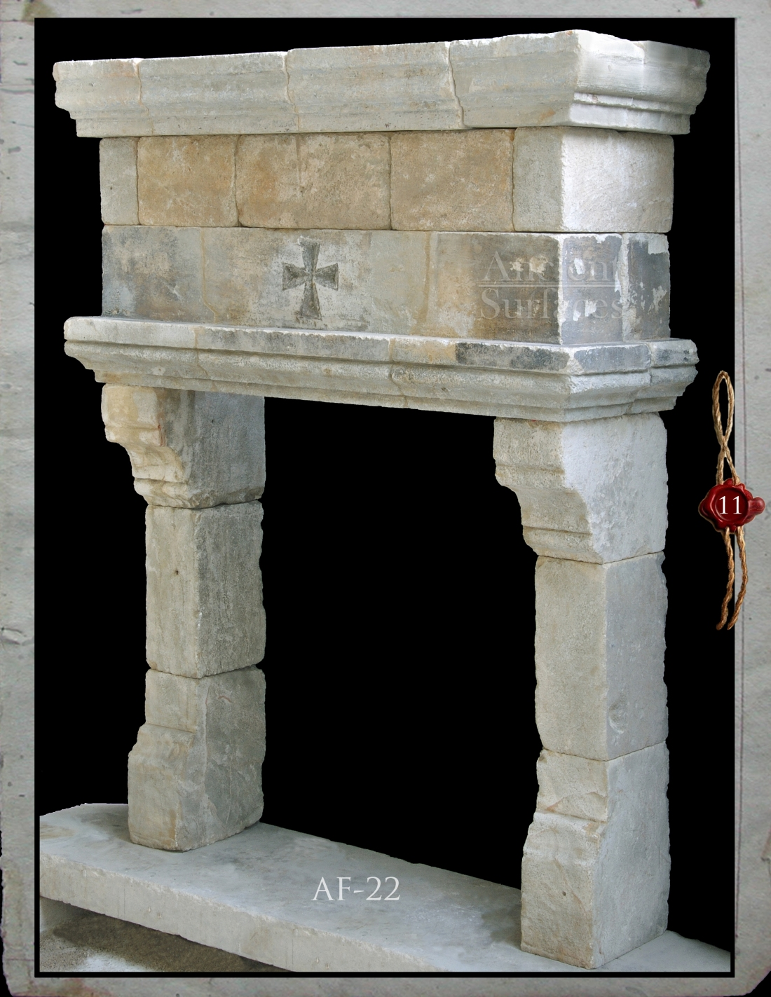 Antique Limestone Fireplace Circa 14th century