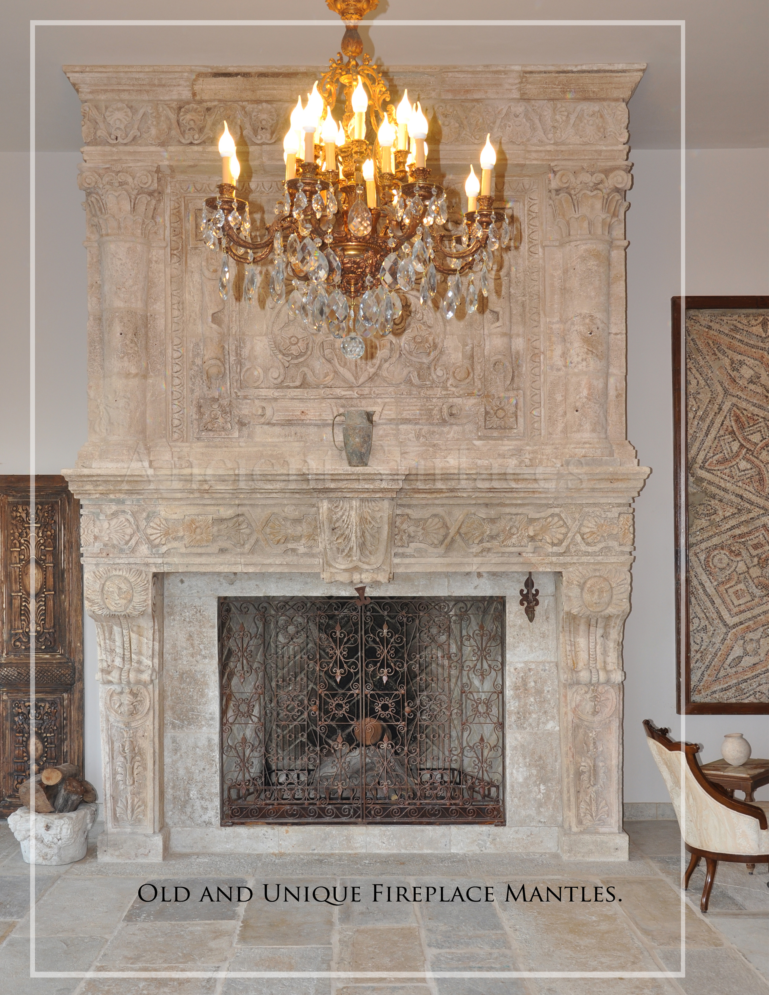 One of a kind antique limestone fireplace hundreds years old reclaimed  and restored by hand shipped from Spain to French castle in the Dordogne region stone fireplaces Antique Fireplaces Ancient Surfaces