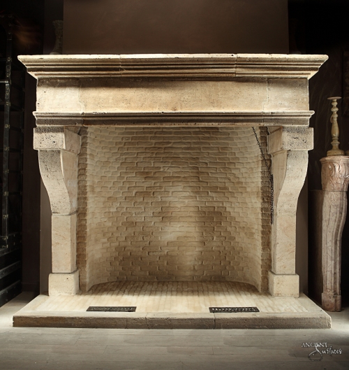 French Limestone Fireplace