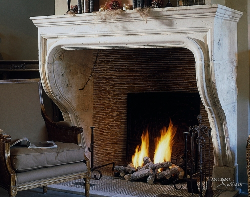 French Provence Limestone Fireplace