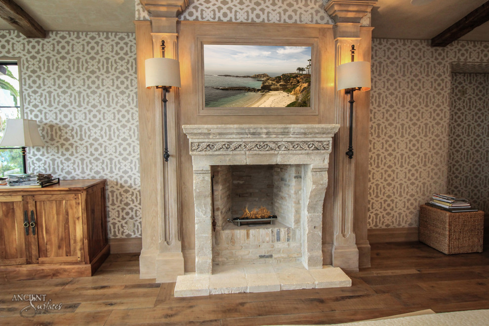 Italian Antique Limestone Fireplace