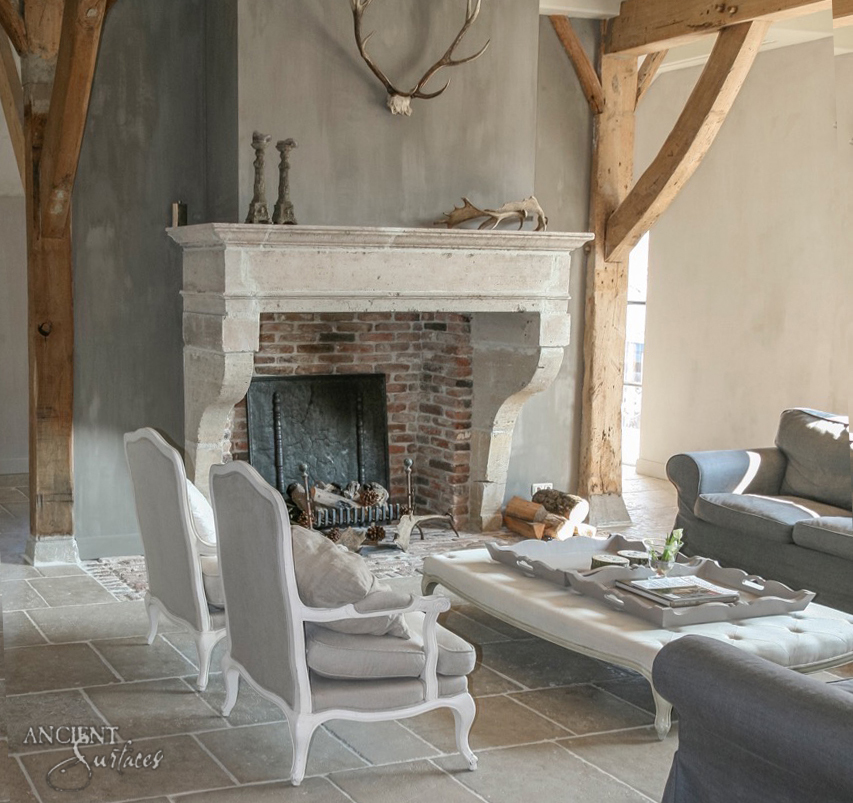 Modern French Limestone Fireplace
