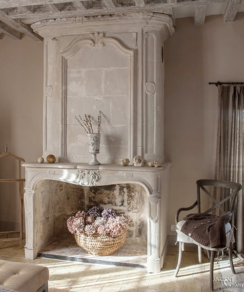 Antique-limestone-fireplace-mantel