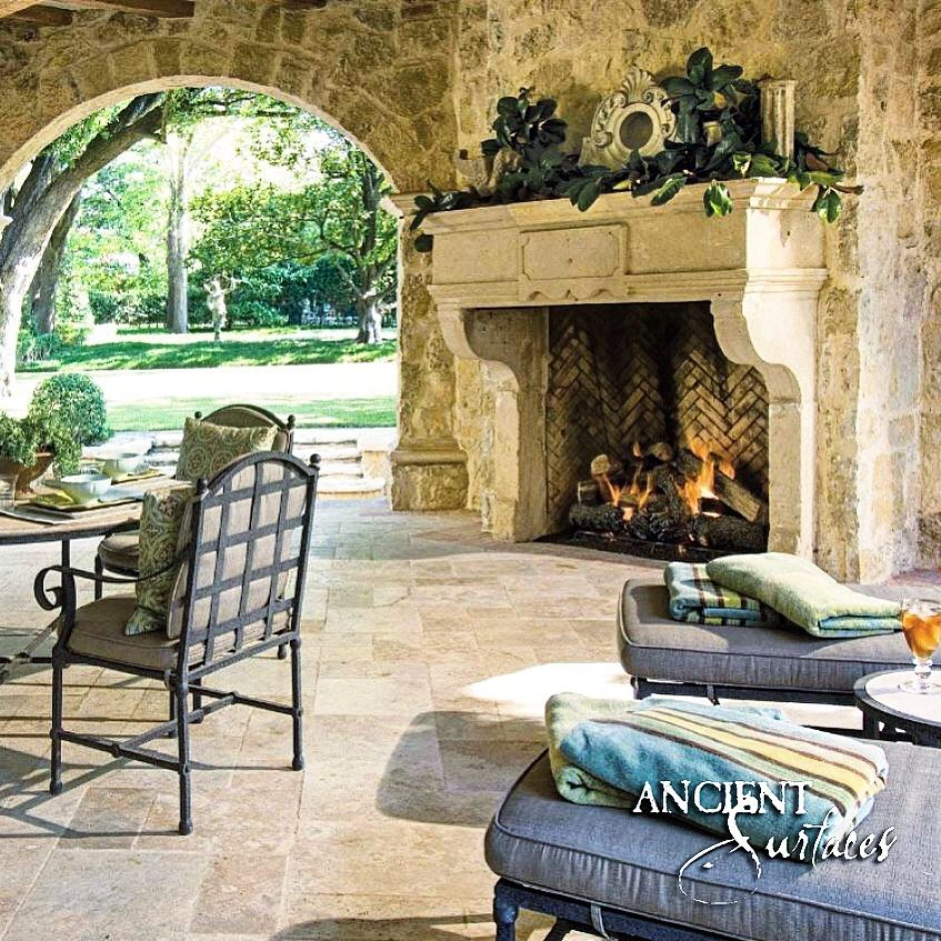 English cottage and French Farmhouse inspired outdoor closed top Pergola with a Stone Fireplace