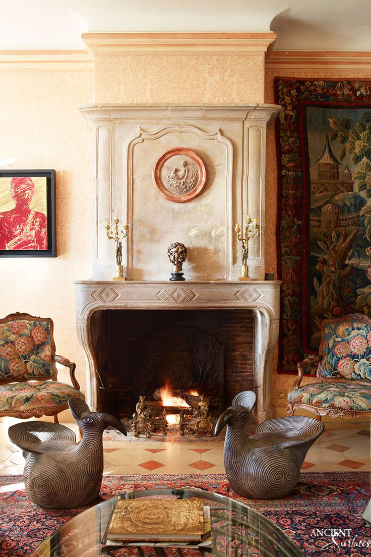 Antique fireplaces by ancient surfaces the largest for French country fireplace