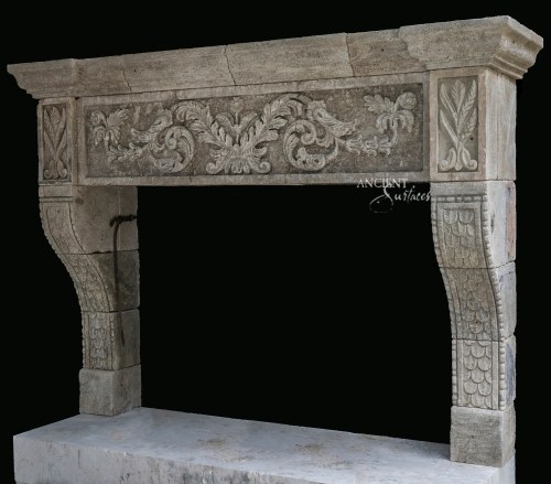 antique-stone-fireplace-mantel