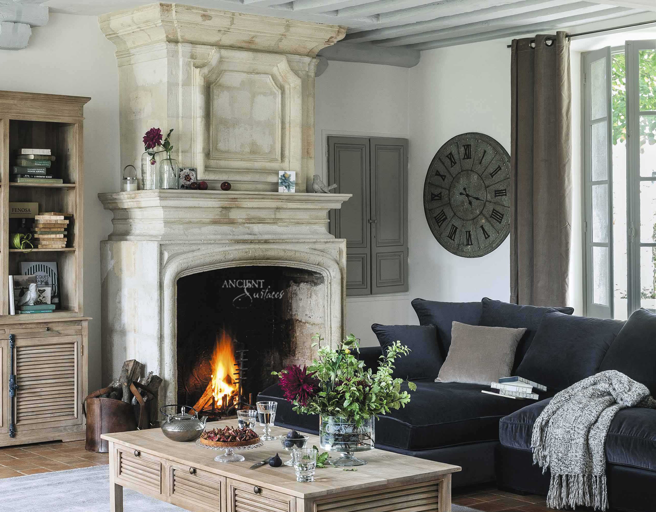 Breathing Room In Your Living Room Antique Stone Fireplace