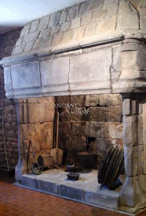 Fireplace medieval kitchen hood limestone