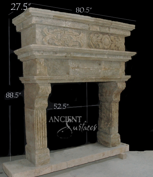 Limestone over mantel fireplace